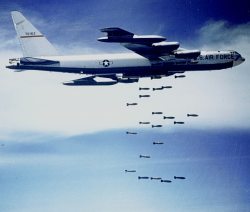 Air Force B-52 bomb drop  90 seconds before impact